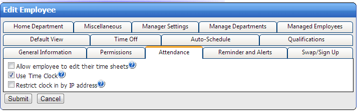you can also allow employees to edit their attendance or disallow this option and have a scheduling manager take care of issues related to the time clock