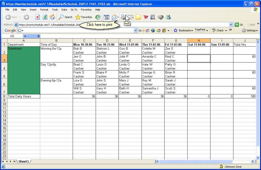 workschedule net help